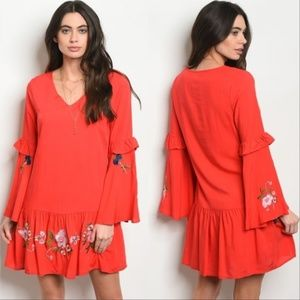 Dresses & Skirts - Red Long bell sleeve floral embroidery tunic Dress